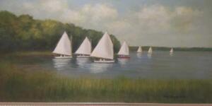 Cotuit Regatta     Oil on canvas     12 x 24     17 x 29 Framed     $1800