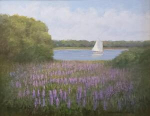 Lupins by the Bay     Oil on canvas     16 x 20     22 x 26 Framed     $1700