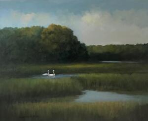 Swanning Around     Oil on canvas     16 x 20     22 x 26 Framed    $1700