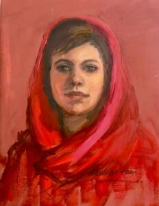 WOMAN IN RED SCARF     Oil on gessoed paper     12 x 9     18 x 14 Framed     $700