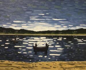 NIGHT FISHING      16 x 20     Oil on canvas      21 x 25 Framed      $875