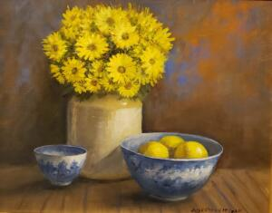 YELLOW FLOWERS WITH POTTERY     Oil on canvas     16 x 20     22 x 26 Framed     $1700