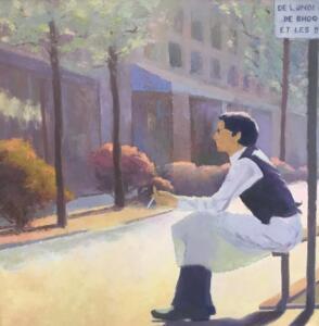 ON BREAK IN THE MARAIS, PARIS  |  Oil  on canvas  |  36 x 36  |  37.5 x 37.5  Framed  |  $3600