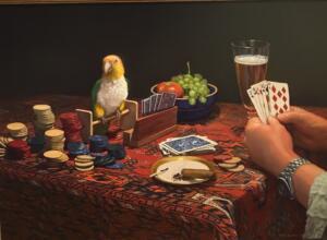 POKER GAME  |  Oil on linen  |  18 x 24  |  23.5 x 29.5 Framed  |  $5500