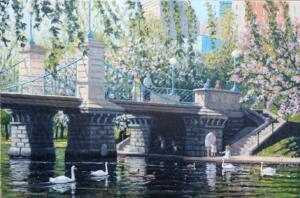 PUBLIC GARDEN, BOSTON  |   Oil on canvas  |   24 x 36  |   31.5 x 43.5 Framed   |   $3800