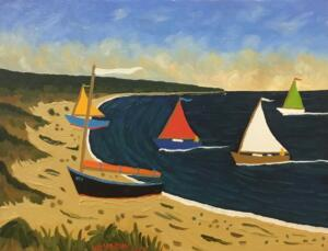 SAILING TO BEACH   |   11 x 14  |   Oil on canvas   |  16 x 19 Framed   |  $875