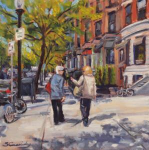 SPRING IN BOSTON  |  Oil on canvas  | 12 x 12  | Framed 13.75  x 13.75  |  $600