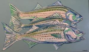 STRIPERS  |  21 x 36  |  Acrylic on canvas  |  28 x 43 Framed  |  $1200