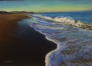 SUNRISE ON NAUSET BEACH  | Pastel on sanded paper   |  12 x 16   |  $700  Framed
