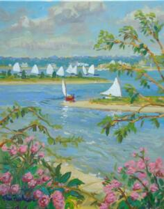 SKIFF RACE COTUIT BAY | 20 x 16  | Acrylic on Canvas  |  $1500 Unframed  |  24.5 x 20.5  framed  $1,680