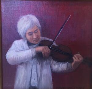 THE VIOLINIST     8 x 8     Oil on canvas     $500
