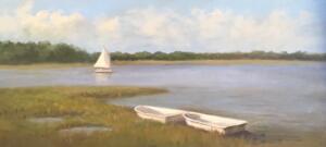 TOW DINGHYS   Oil on canvas  10 x 20    $1100