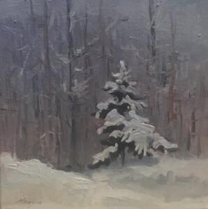 WINTER SILENCE  |  6.5 x 6.5  |  Oil on panel  |  7.5 x 7.5 Framed  |  $375