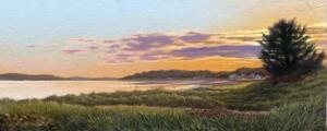 END OF THE DAY     Oil on board     10 x 24      15.5 x 29.5 Framed     $1,600