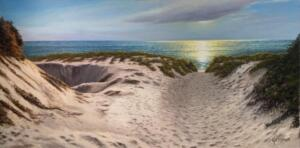 LATE AFTERNOON DUNES     Oil on canvas       24 x 48     29.5 x 53.5 Framed     $6,300