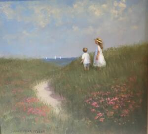 CHILDREN IN THE DUNES  |  Oil on board  |  12 x 12  |  18 x 18 Framed  |  $900