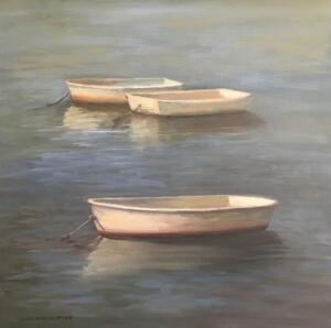 DINGHYS  |  Oil on canvas  |  18 x 18  |  19.5 x 19.5 Framed  |  $1800