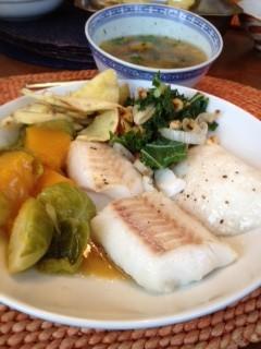 Bean Soup and Fish w Squash Nishime stir fry kale
