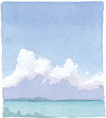 """Watercolor of Exuma, Bahamas, """"Clouds from Goat Cay"""" by Jane Chermayoff"""