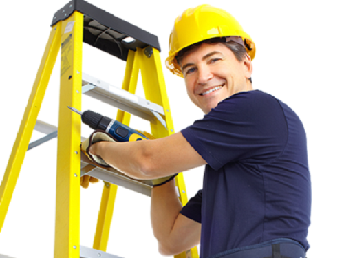 handyman on ladder 1 - Frontpage