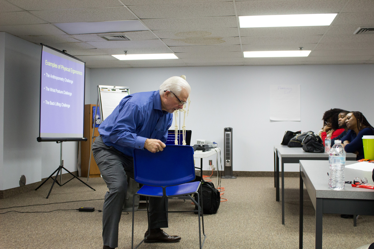 Ergonomics tips to prevent caregiver injuries in the workplace. Elders Helpers workshop for continuing education.