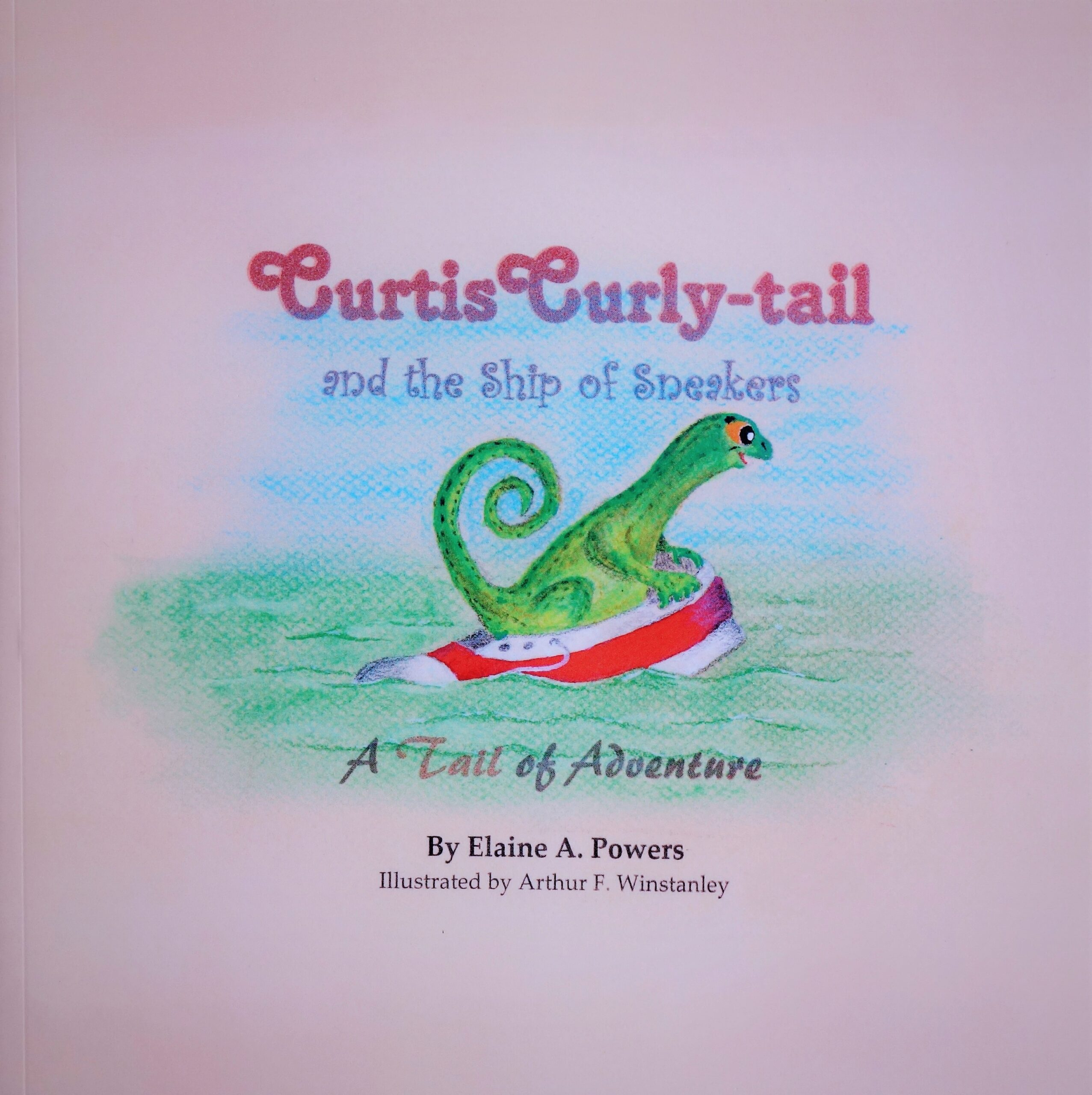 A book cover with a Curly-tail lizard riding the waves in a red sneaker