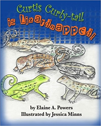 a children's book cover, blue and white, with several curly-tail lizards on the cover