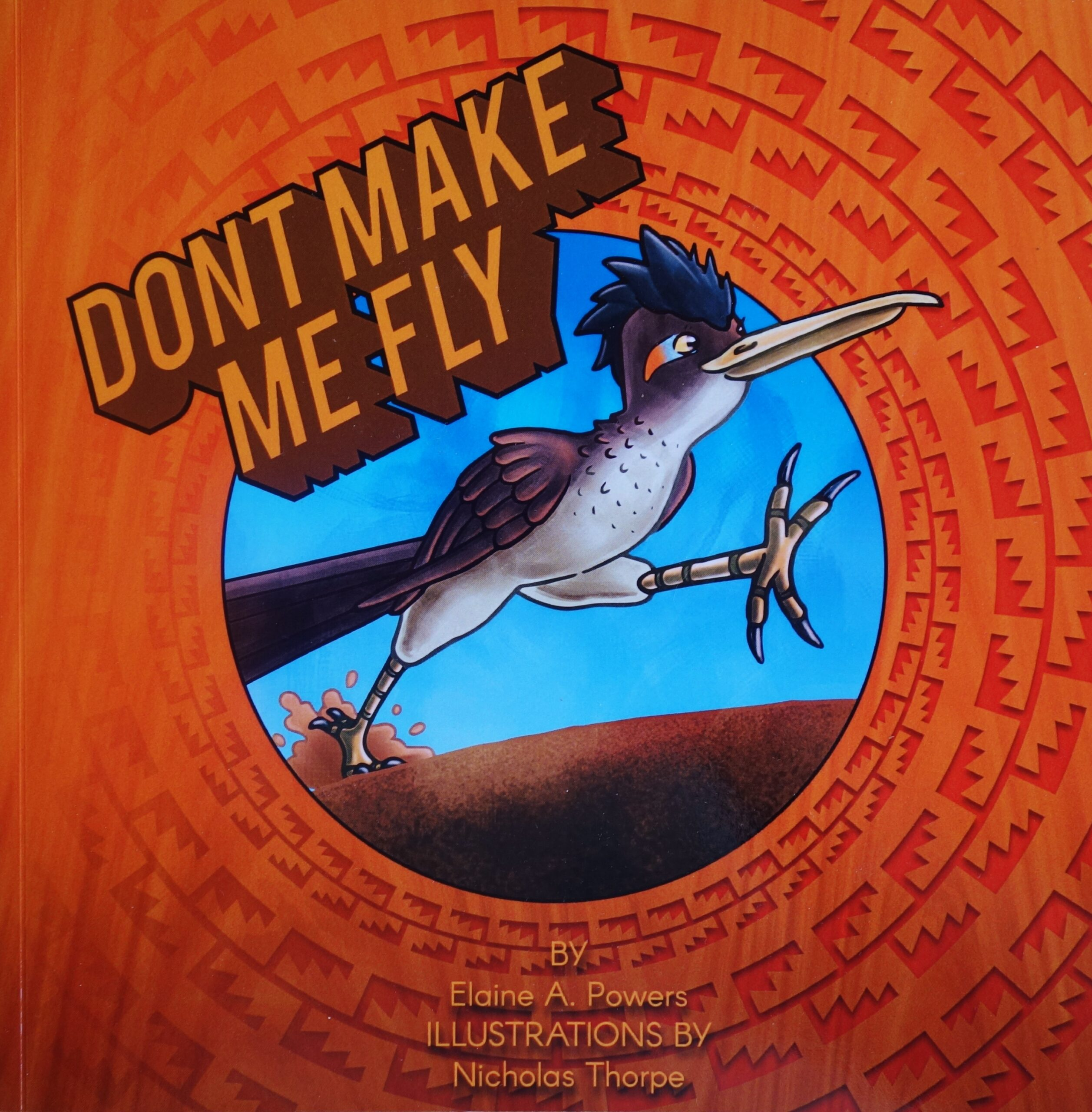 A copper colored book cover featuring an illustration of a Roadrunner bird