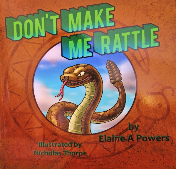 A book cover, with a Native American 'feel,' and a painting of a Western Diamondback Rattlesnake