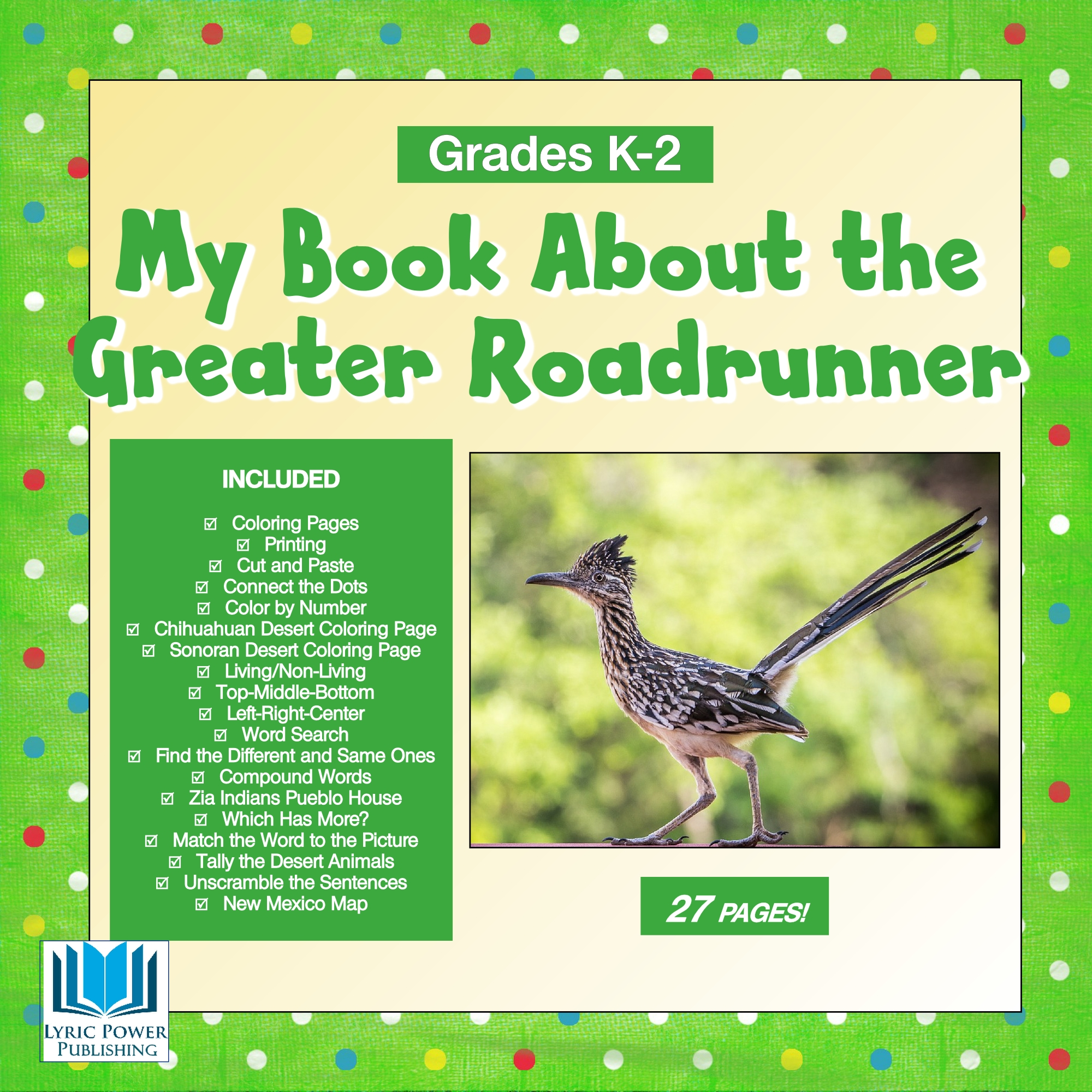 A green and yellow book cover with image of Greater Roadrunner