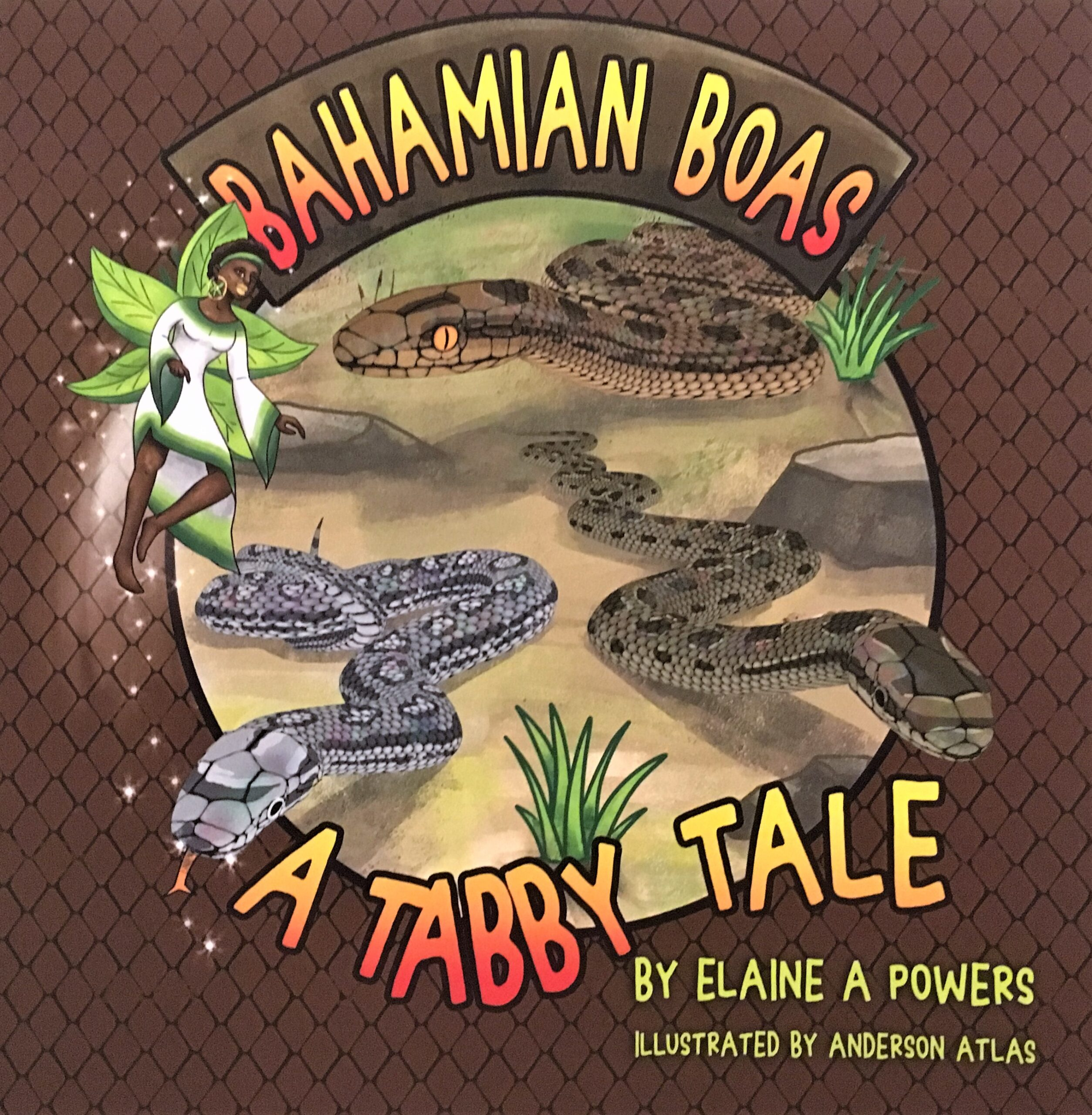 A children's book cover, brown background, orange and yellow lettering, with images of snakes from the Bahamas