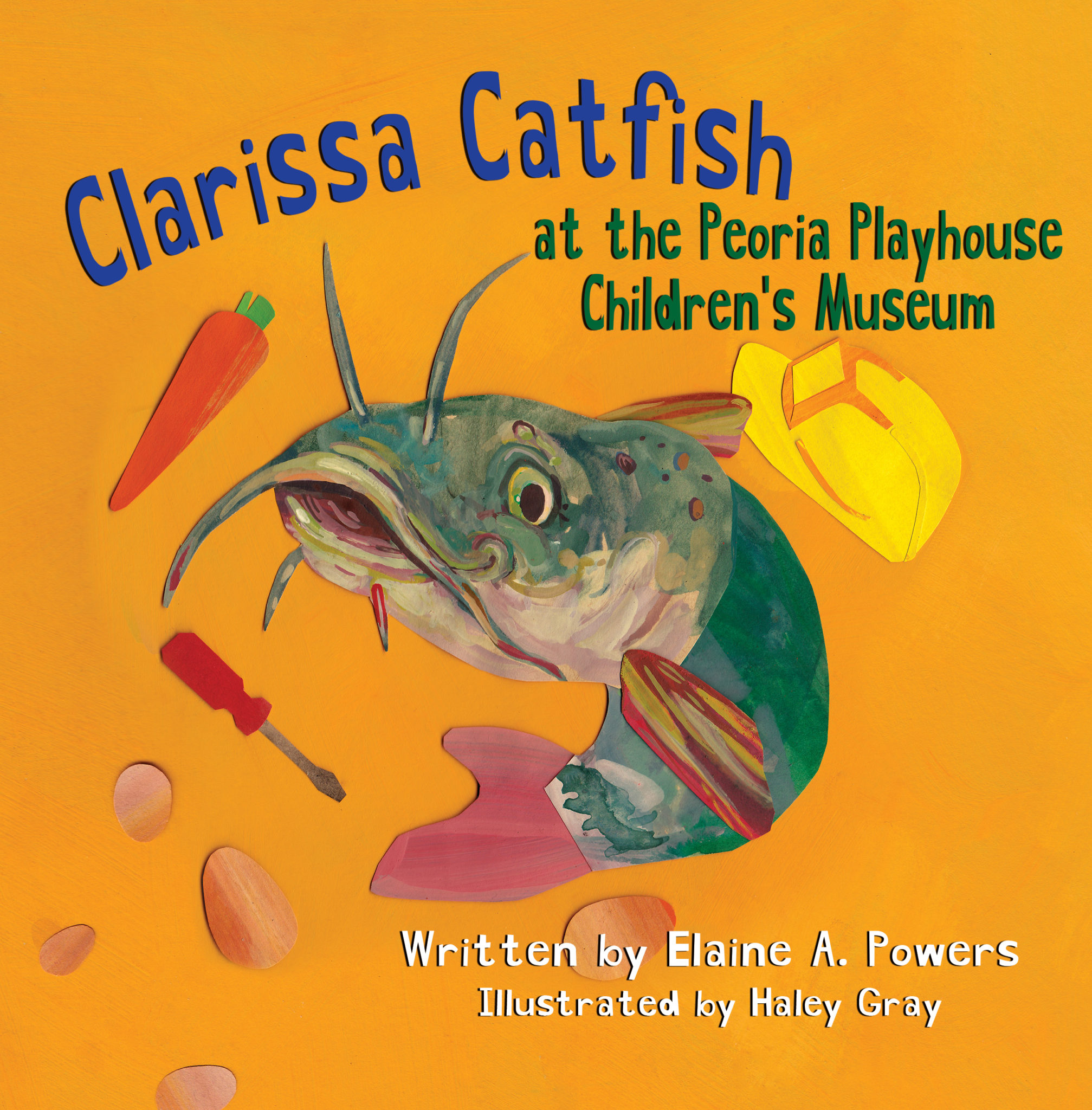 A golden orange book cover with a green catfish on the cover