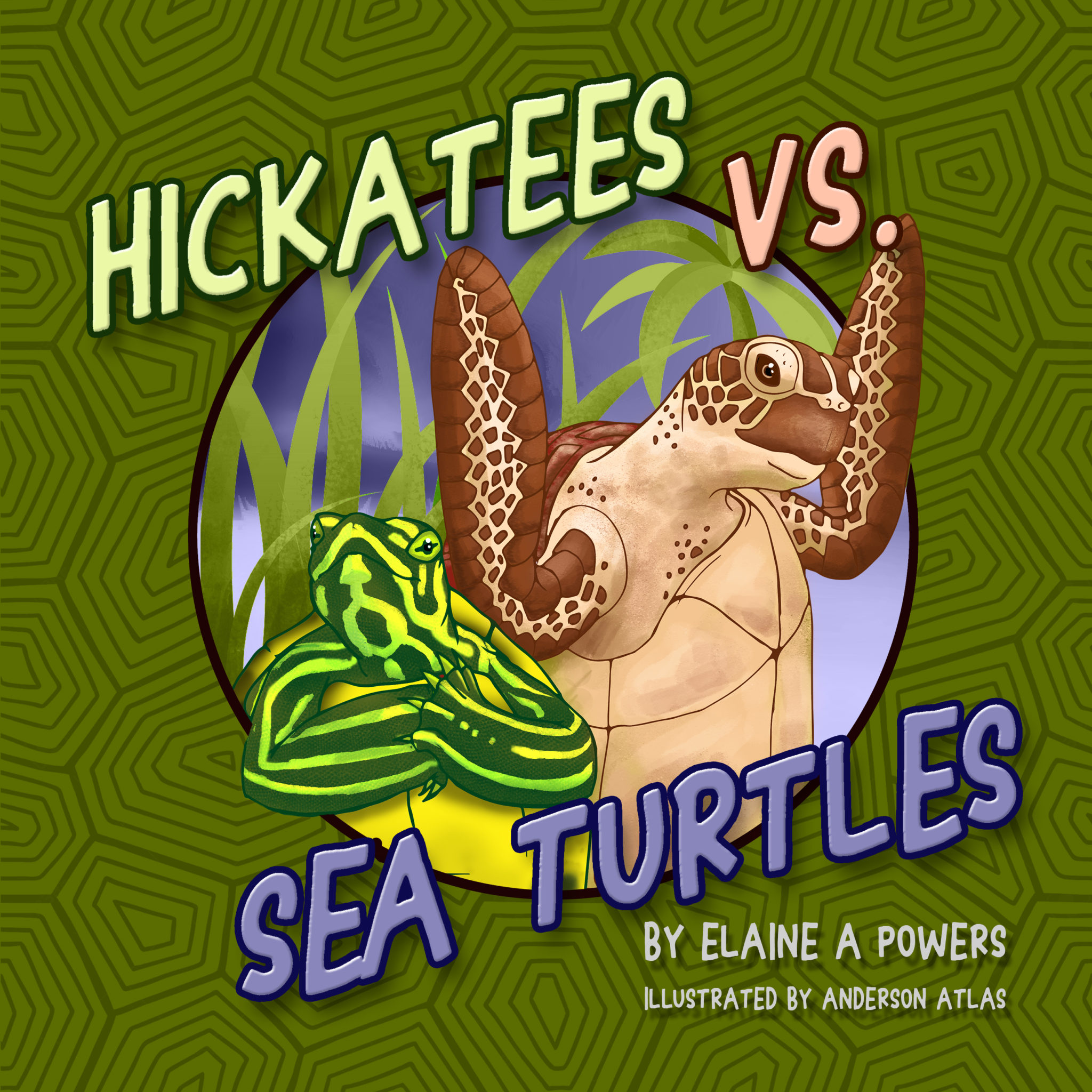 olive green book cover with illustrations of a hickatee and a sea turtle