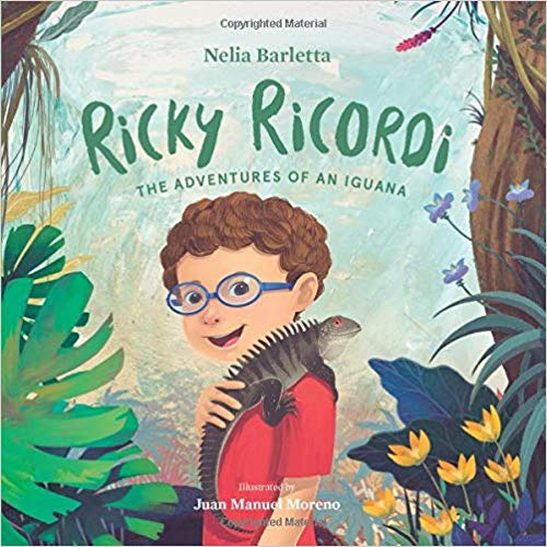 a book cover of boy in jungle with iguana on shoulder
