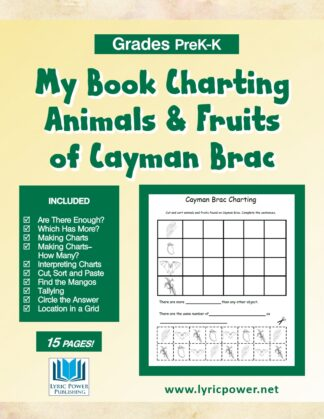book cover charting animals and fruits caymans