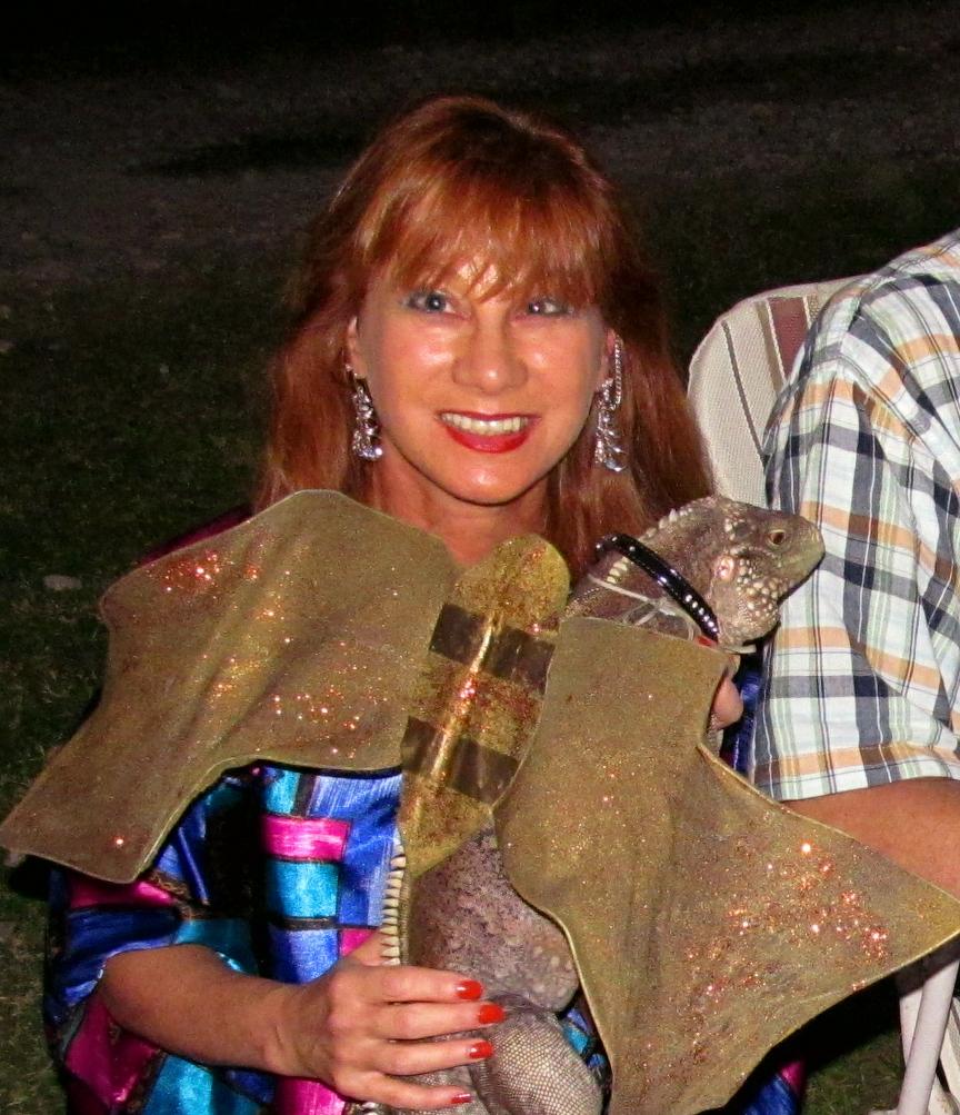 Woman with iguana