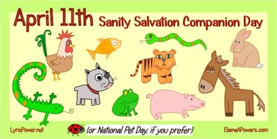 graphic with cartoon animals for April 11 National Pet Day