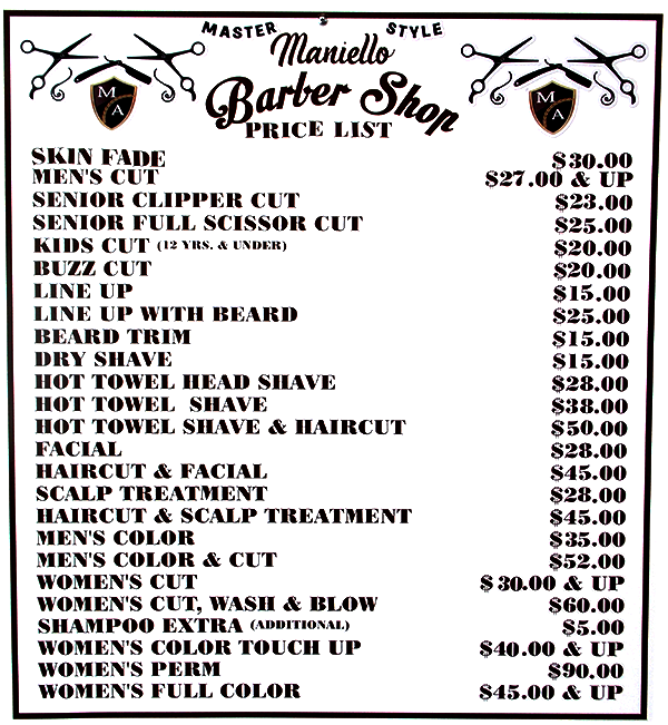 Maniello Barber Shop | Master Of Style | Menu of Services