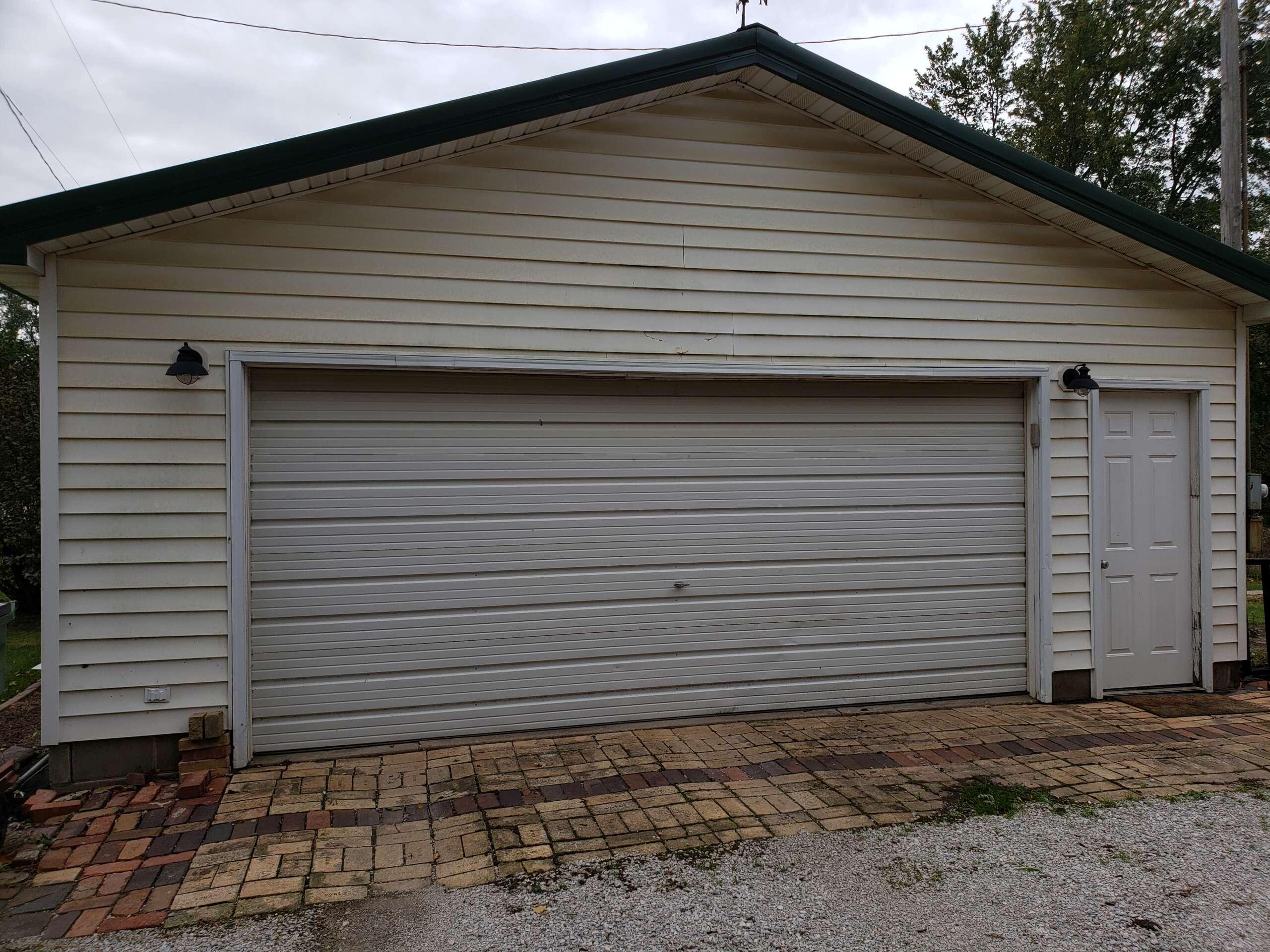Before paitning front of garage