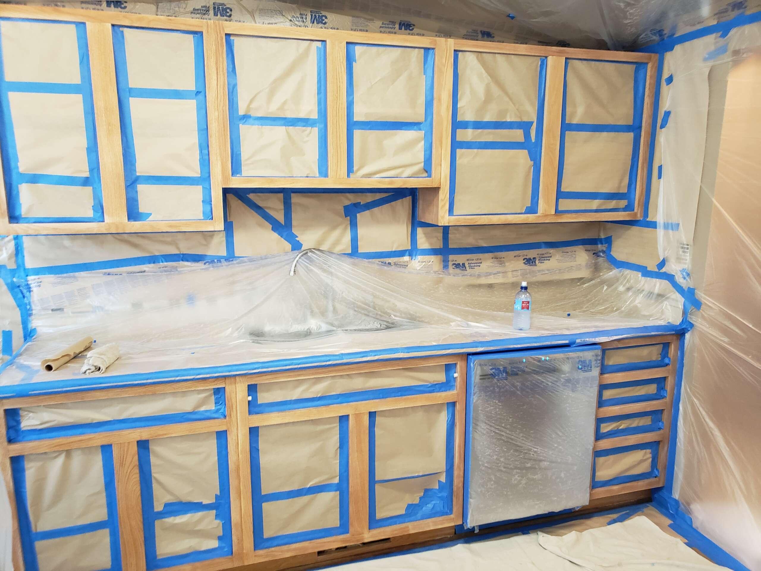 During Kitchen Cabinet Refinish