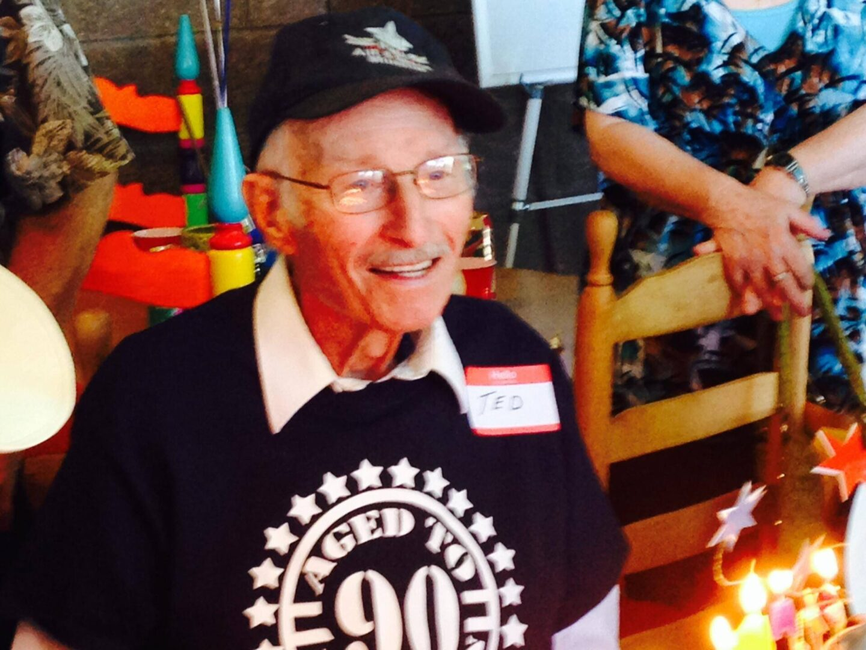 Gramps wearing his 90th birthday tee shirt
