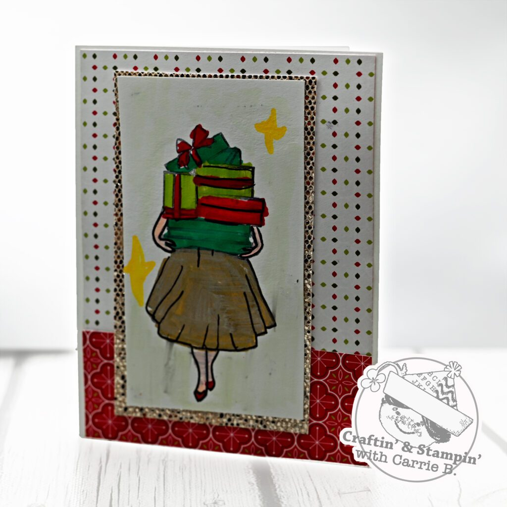 A picture of the Christmas card made during a live stream.