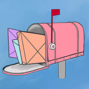 illustration of a pink mailbox with letters and a package