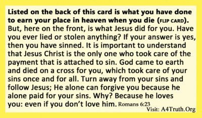 Yellow Card Gospel Tract Front