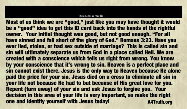 Lost ID Gospel Tract Back _ Business Card Size
