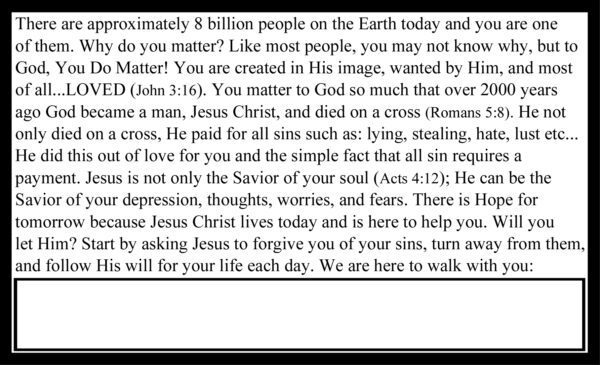 Your Life Matters Gospel Tract Back_Post Card Size