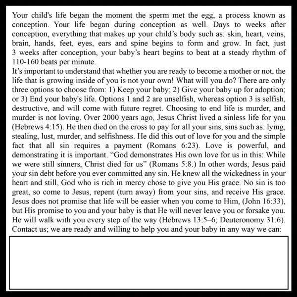 Choose Life Gospel Tract_Back