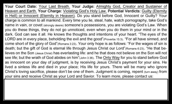 Are You Guilty Gospel Tract Back_Post Card Size