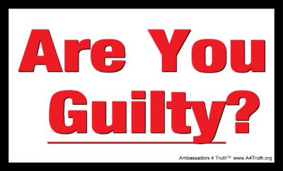 Are You Guilty Gospel Tract Front _ Post Card Size