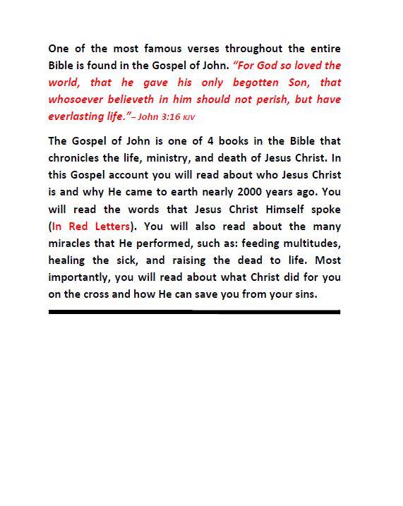 Gospel of John Back Cover